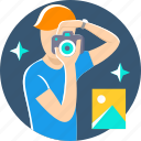 camera, man, photo, photographer, photography, picture, profession icon