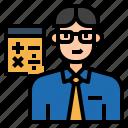 accountant, avatar, calculator, character, financial, job, profession icon