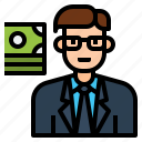 avatar, banker, businessman, character, investor, person, profession icon