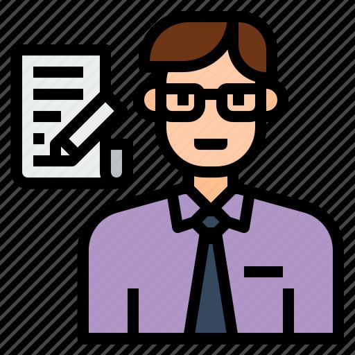 avatar, character, clerk, employee, job, office, profession icon