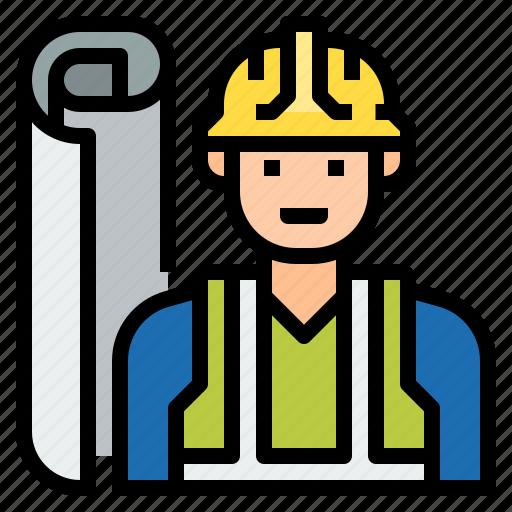 architect, avatar, civil, construction, engineer, industry, supervisor icon