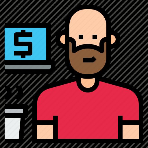 avatar, freelance, freelancer, occupation, person, profession icon
