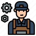 avatar, character, job, man, mechanic, technician, uniform icon