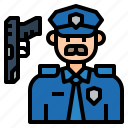 avatar, character, cob, man, police, policeman, uniform icon