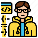 avatar, character, coder, developer, male, professional, programmer icon