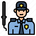 avatar, character, guard, man, security, uniform icon