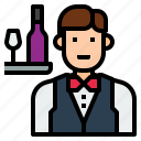 avatar, character, man, uniform, waiter icon