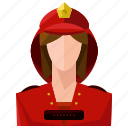 avatar, fire fighter, profile, user, woman icon
