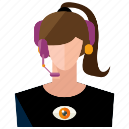 avatar, customer, headphone, user, woman icon
