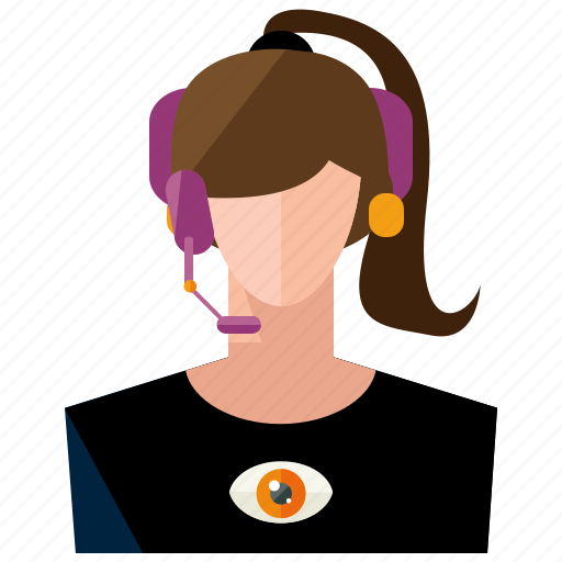 avatar, customer, headphone, user, woman icon
