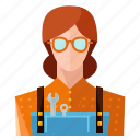 avatar, mechanic, profile, user, woman icon