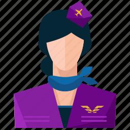 avatar, profession, profile, service, stewardess, user, woman icon