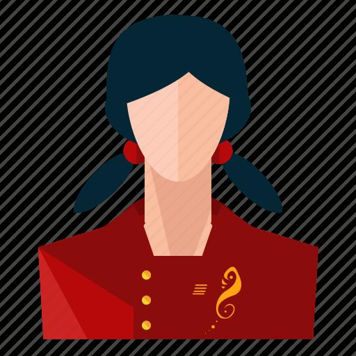asian, avatar, profession, profile, service, user, woman icon