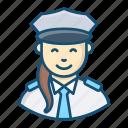 airwoman, pilot, woman aviator, female pilot, stewardess icon