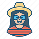 tourist, traveller, tripper, visitor, female adventurer icon