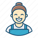 housekeeper, housemaid, home cleaner, house maintenance, sweeper, service provider icon