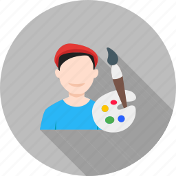 artist, artistic, male, paint, paintbrush, painter, studio icon