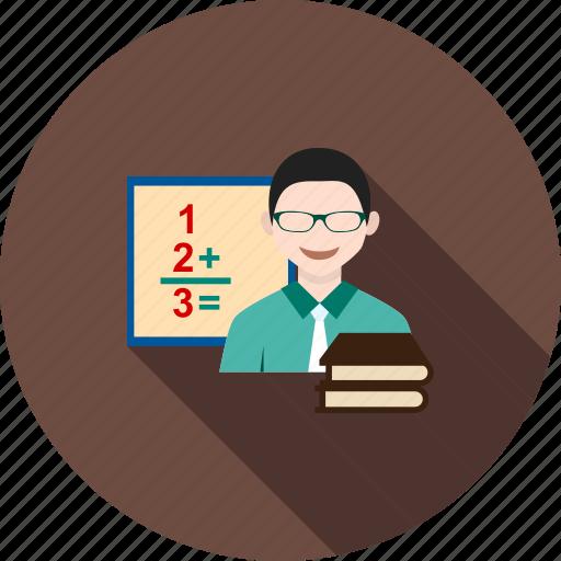 board, classroom, college, male, professor, school, teacher icon