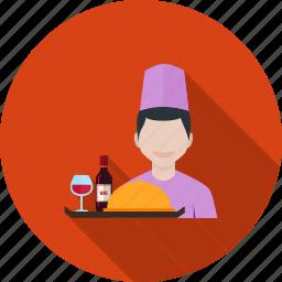hotel, people, restaurant, service, staff, tray, waiter icon