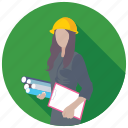 construction worker, female engineer, lady architects, occupation, worker icon