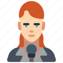 avatar, female, news, professional, professions, reporter, user icon