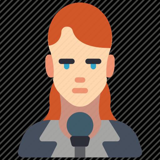 avatar, female, news, professional, professions, reporter, user icon