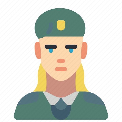 avatar, female, people, professional, professions, soldier, user icon