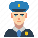 avatar, male, officer, police, professional, professions, user icon