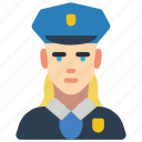 avatar, female, officer, polie, professional, professions, user icon