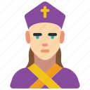 archbishop, avatar, female, people, professional, professions, user icon