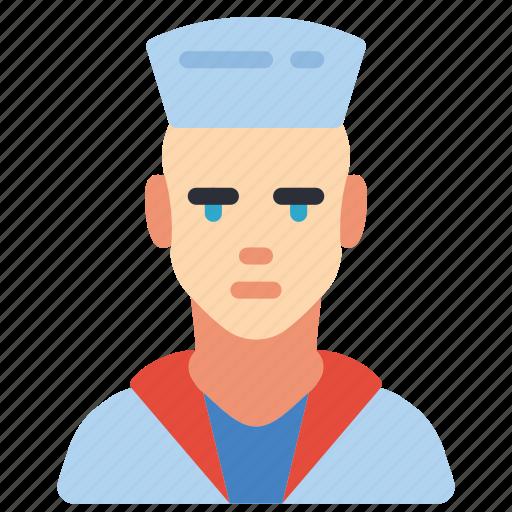 avatar, man, navy, professional, professions, sailor, user icon