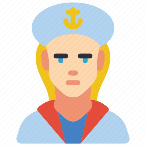 avatar, female, navy, people, professional, professions, sailor icon