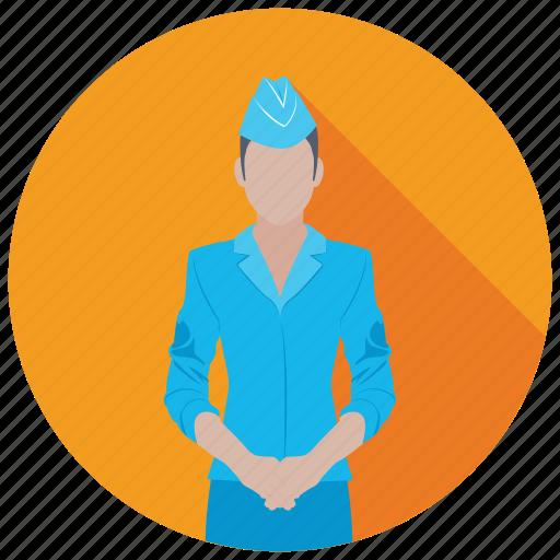 air hostess, airline stewardess, flight attendant, steward, stewardess icon