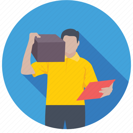 courier boy, courier service, delivery man, mailman, mailperson icon