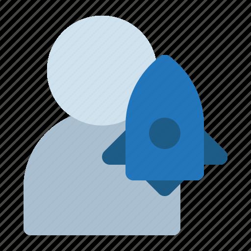 astronaut, avatar, man, rocket, space icon