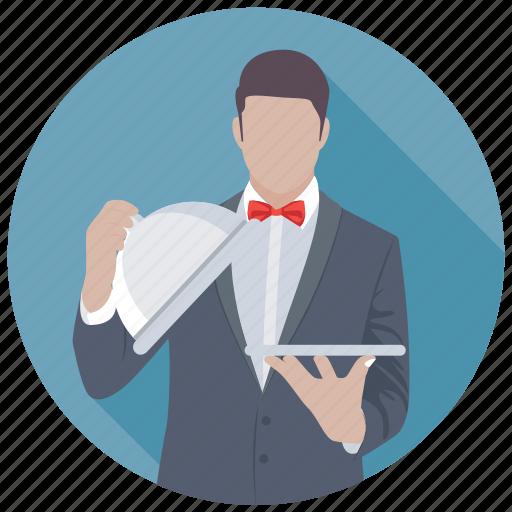 butler, male waiter, stewardess, waiter, waiting staff icon