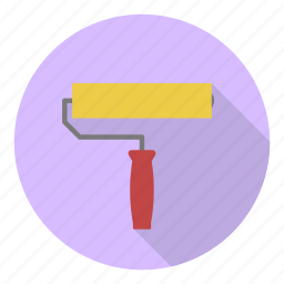 brush, color, decoration, paint, profession, roll, roller icon