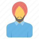 indian, man, sikh man, sikhism, turban icon
