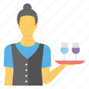 bartender, female waiter, stewardess, waiting staff, waitress icon
