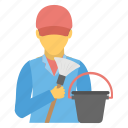 cleaning service, cleaning work, housekeeper, janitor, sweeper icon