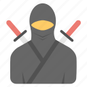 martial arts, ninja fighter, samurai, sword fighting, swordsmanship icon