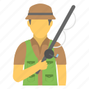 angling, fisher, fisherman, fishing, fishing rod icon