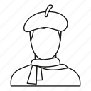 artist, creative, line, man, outline, paint, painter icon