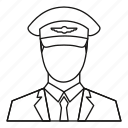 hat, line, military, officer, outline, pilot, uniform icon