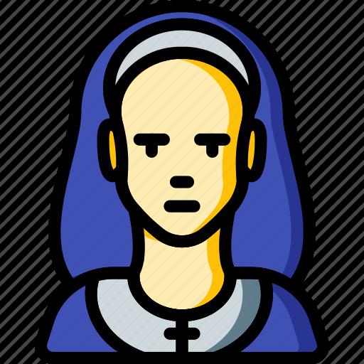 avatar, nun, people, professional, professions, user icon