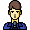 avatar, male, news, people, professional, professions, reporter icon