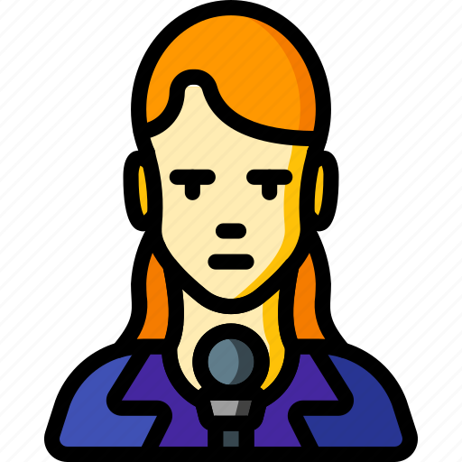 avatar, female, people, professional, professions, reporter, user icon