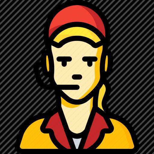 avatar, clerk, female, food, professional, professions, user icon