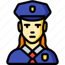 avatar, female, officer, people, polie, professional, professions icon