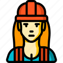 avatar, builder, construction, female, people, professional, professions